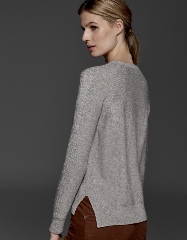 Silver gray wool/cashmere cable knit jacket