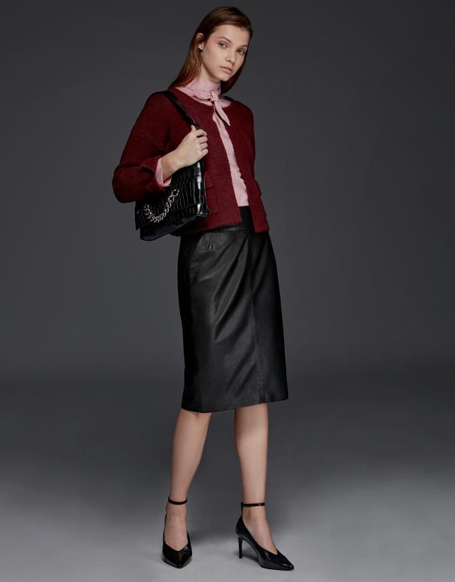 Burgundy thick knit short jacket