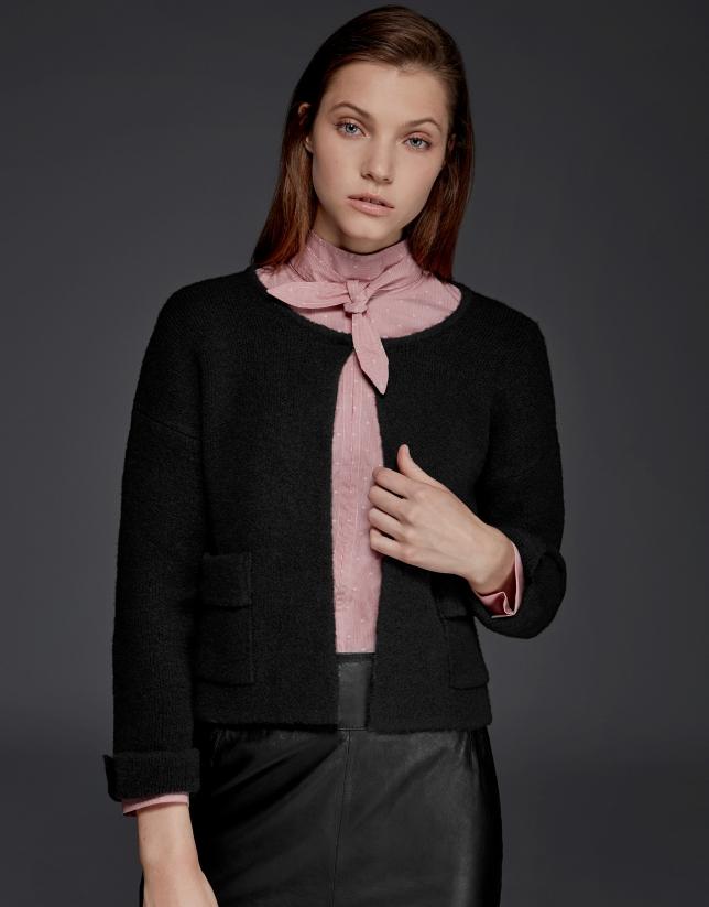 Black thick knit short jacket