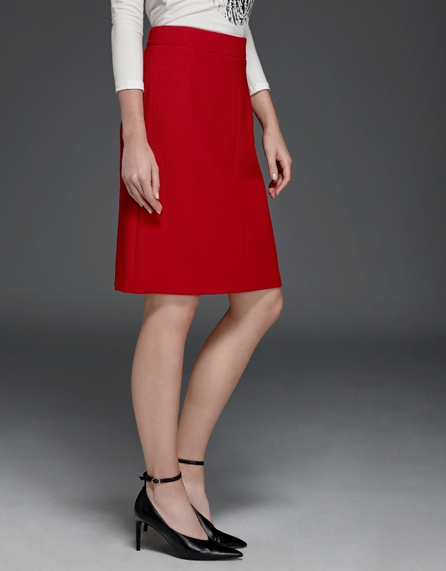 Maroon a-line skirt