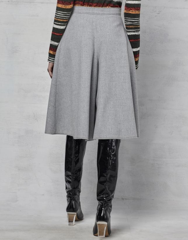 Jupe-culotte gris argent