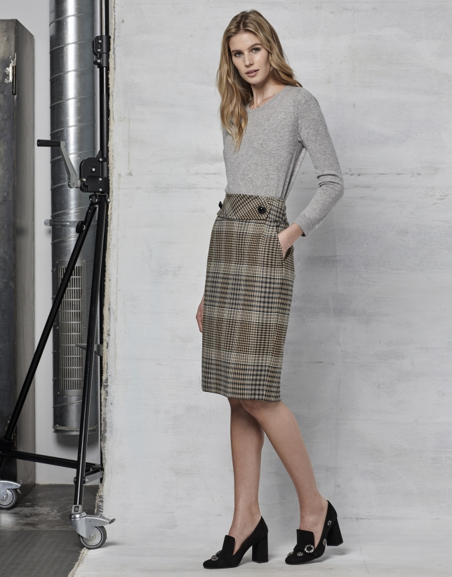 Brown glen plaid pencil skirt