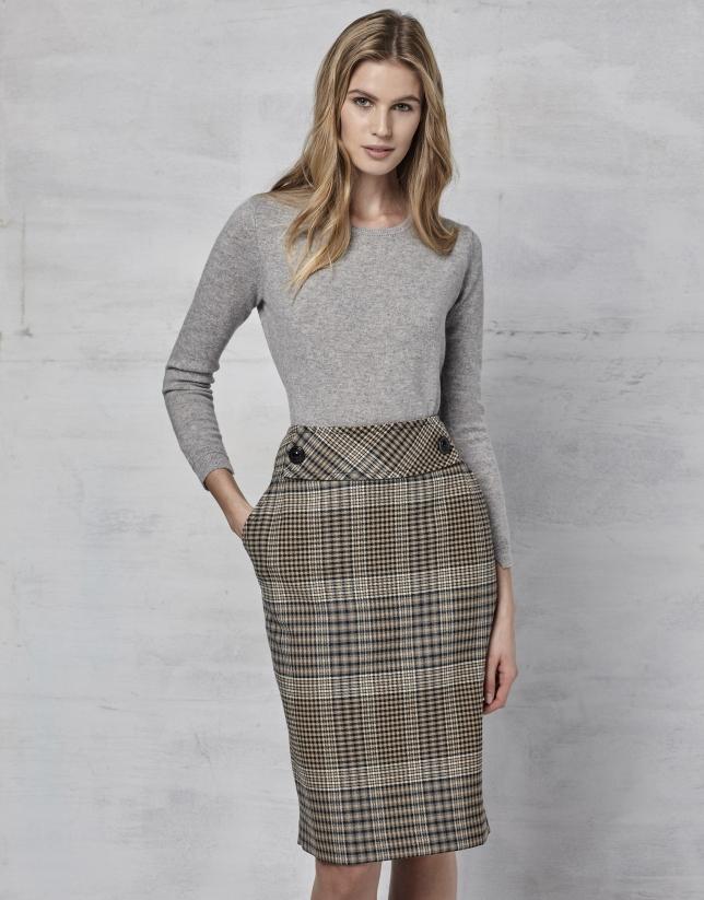 Brown glen plaid pencil skirt