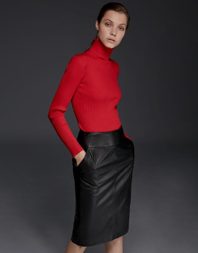 Black lambskin pencil skirt
