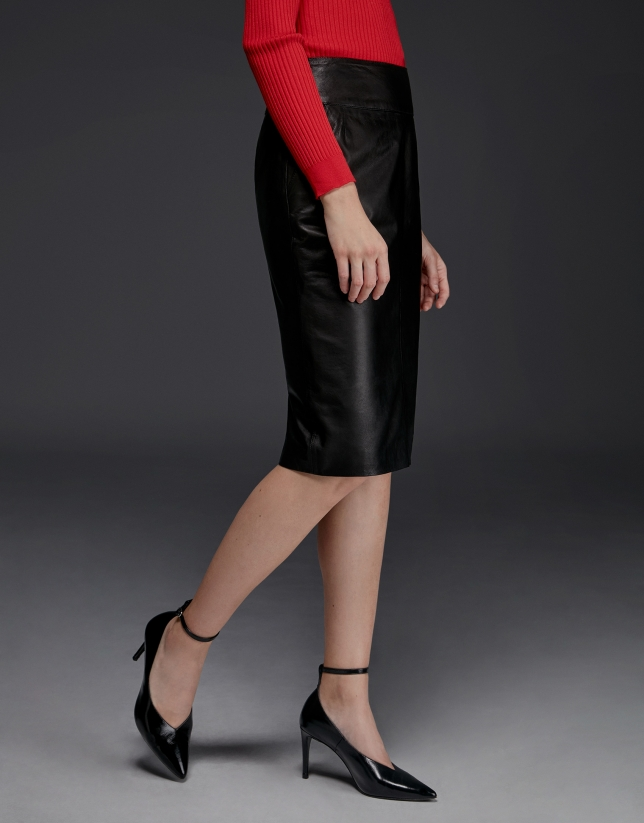 Black lambskin pencil skirt