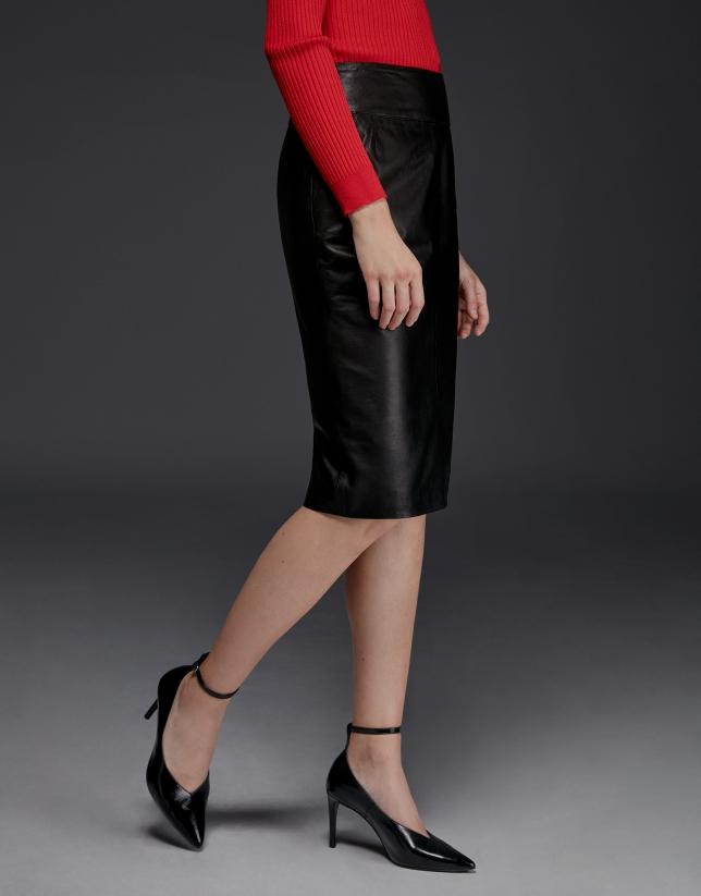 Falda lápiz piel cordero negra - Mujer - OI2017  e4e37fa97947