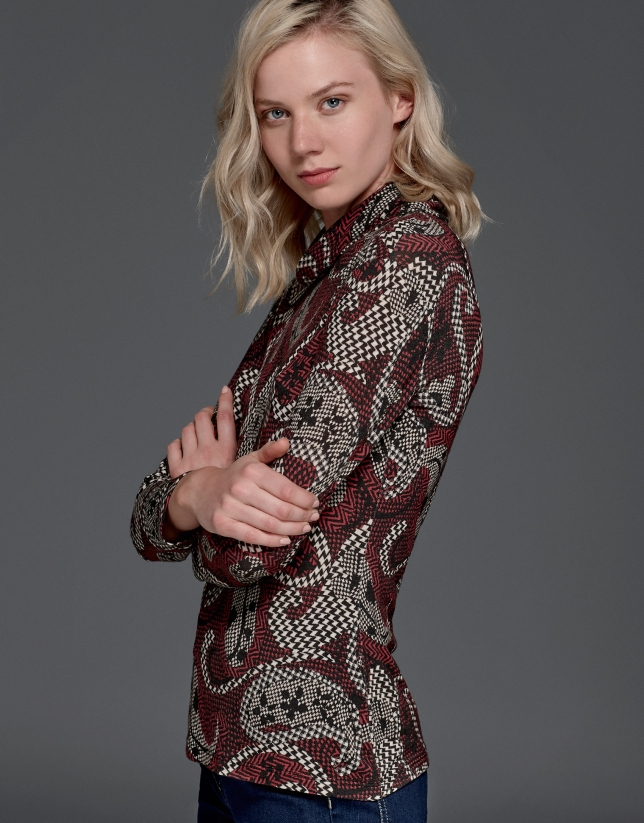 Maroon print turtle neck shirt with cowl neck