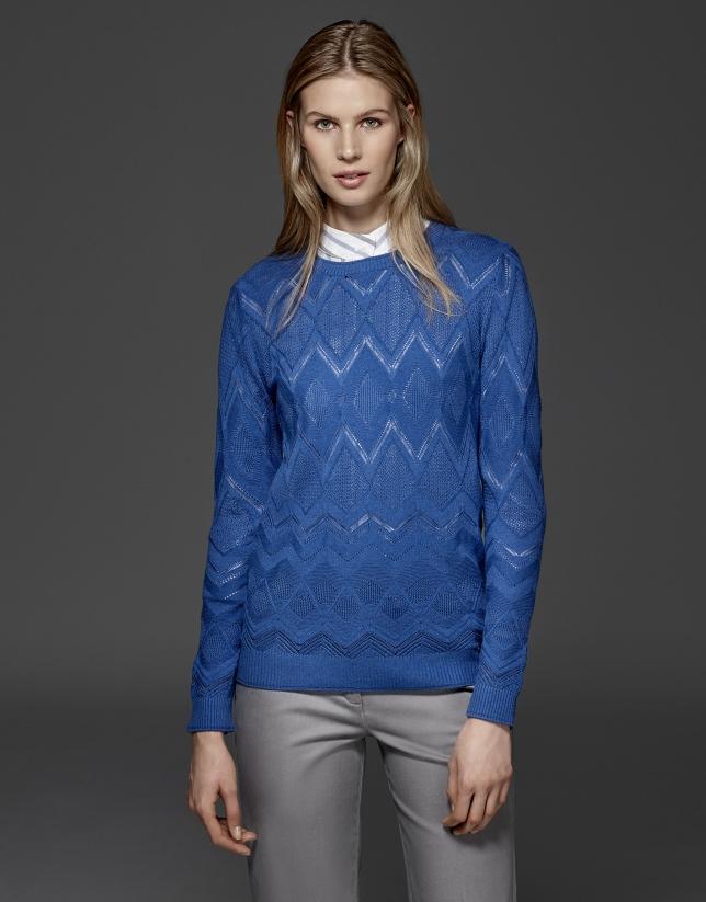Camiseta punto calado rombos azul