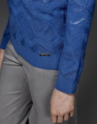 T-shirt en maille ajourée bleu à losanges