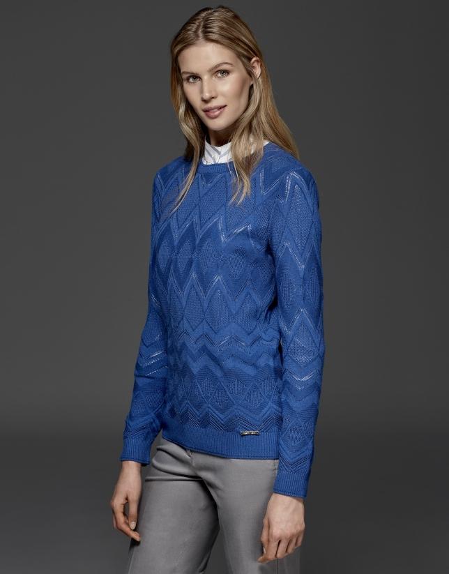 Blue diamond print openwork knit top