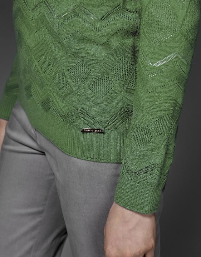 Camiseta punto calado rombos verde