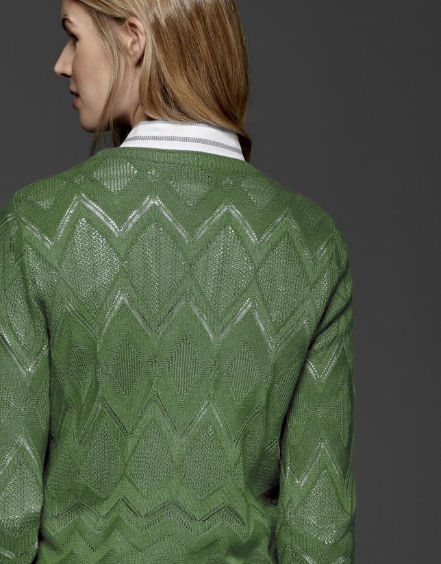 Green diamond print openwork knit top