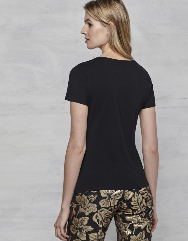 T-shirt à rayures dorées
