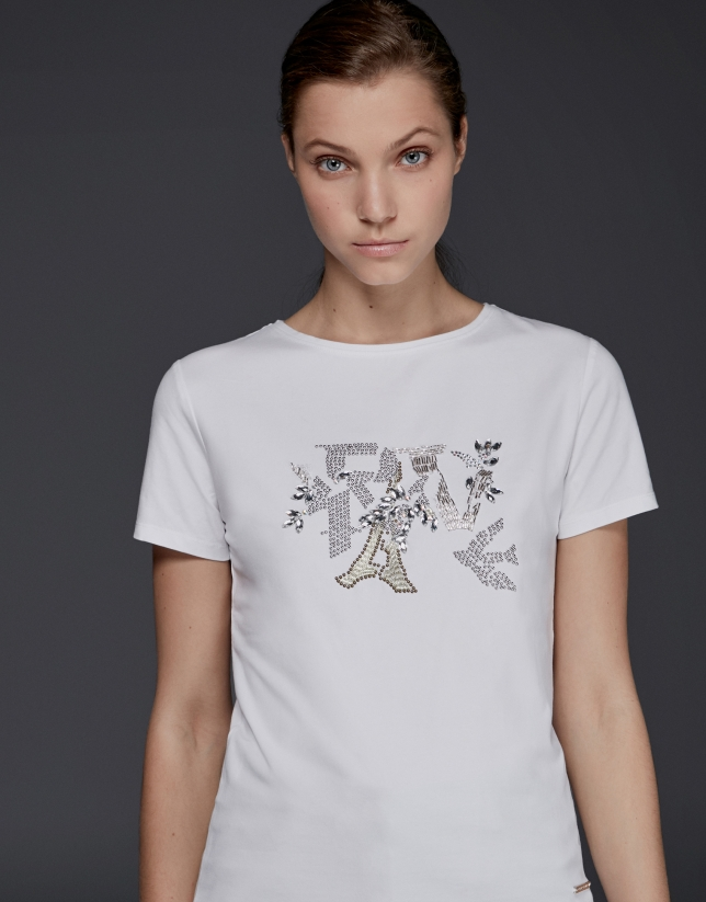 White strass short-sleeved t-shirt