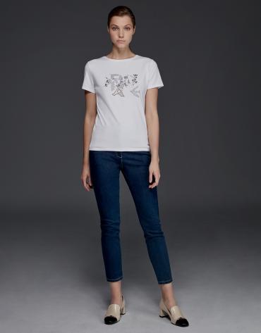 Camiseta blanca strass manga corta