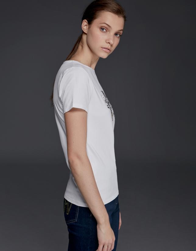 T-shirt à manches courtes blanc avec strass
