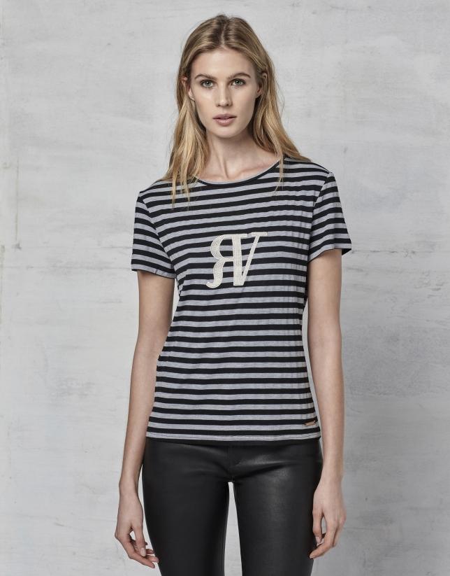 Camiseta rayas logo RV manga corta