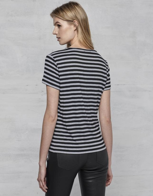 T-shirt à manches courtes rayures et logo RV