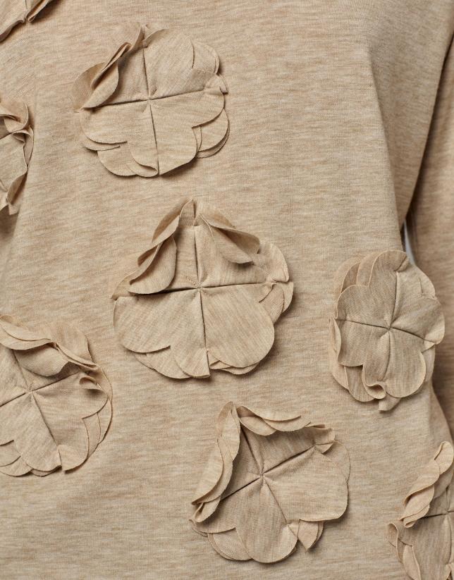 T-shirt couleur noisette avec application florale