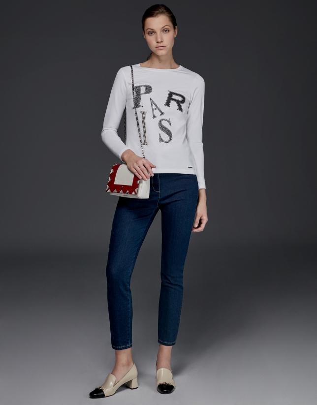Paris print long-sleeved top