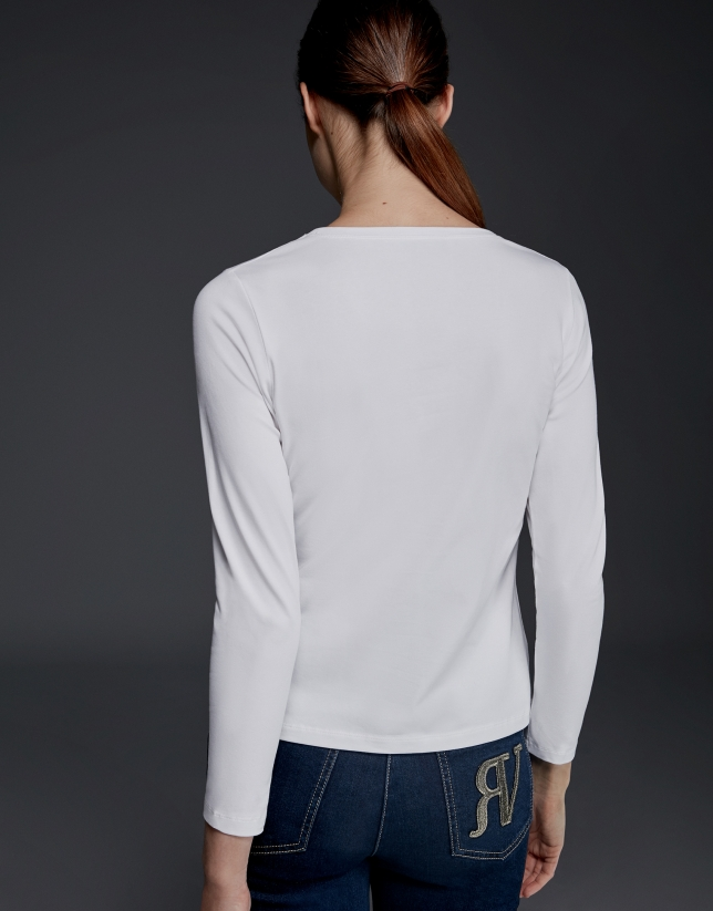 T-shirt à manches longues imprimé Paris