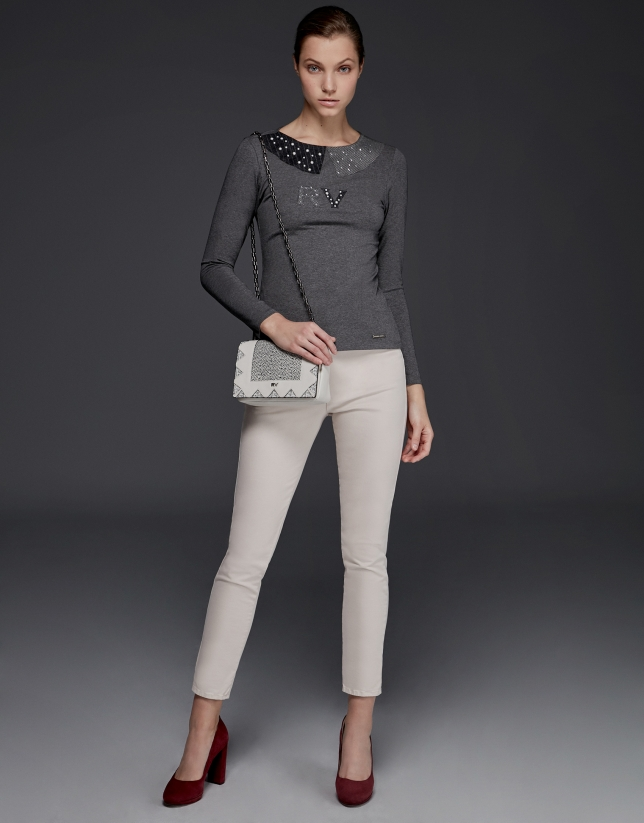 Gray long-sleeved top with spread collar