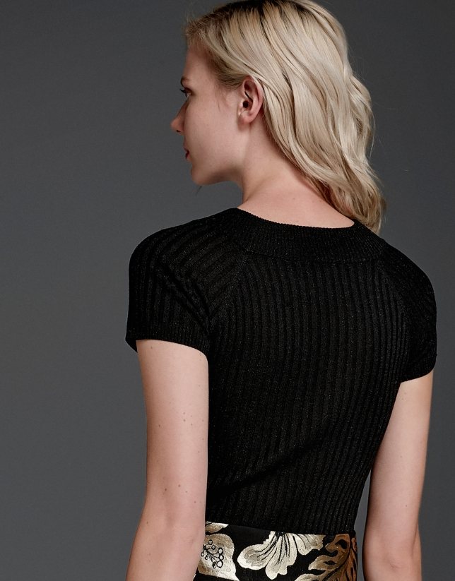 Black glitter ribbed knit sweater