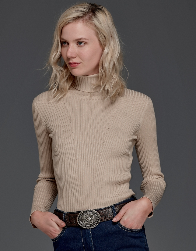 Hazelnut ribbed turtle knit sweater