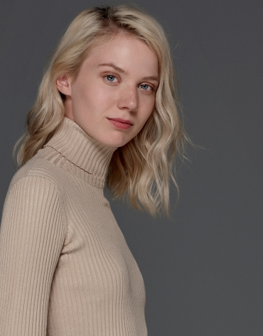 Hazelnut ribbed turtle knit sweater