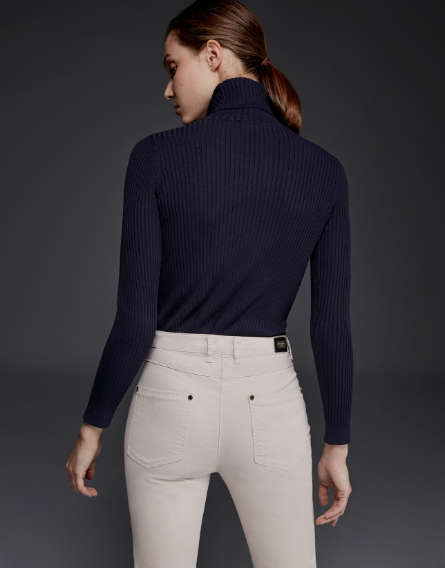 Navy blue ribbed turtle knit sweater