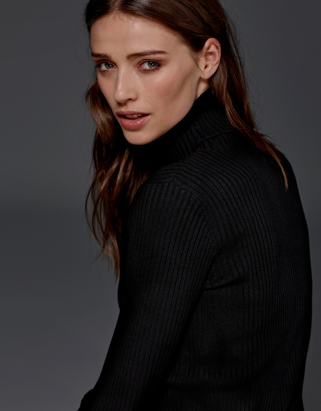 Black ribbed turtle knit sweater