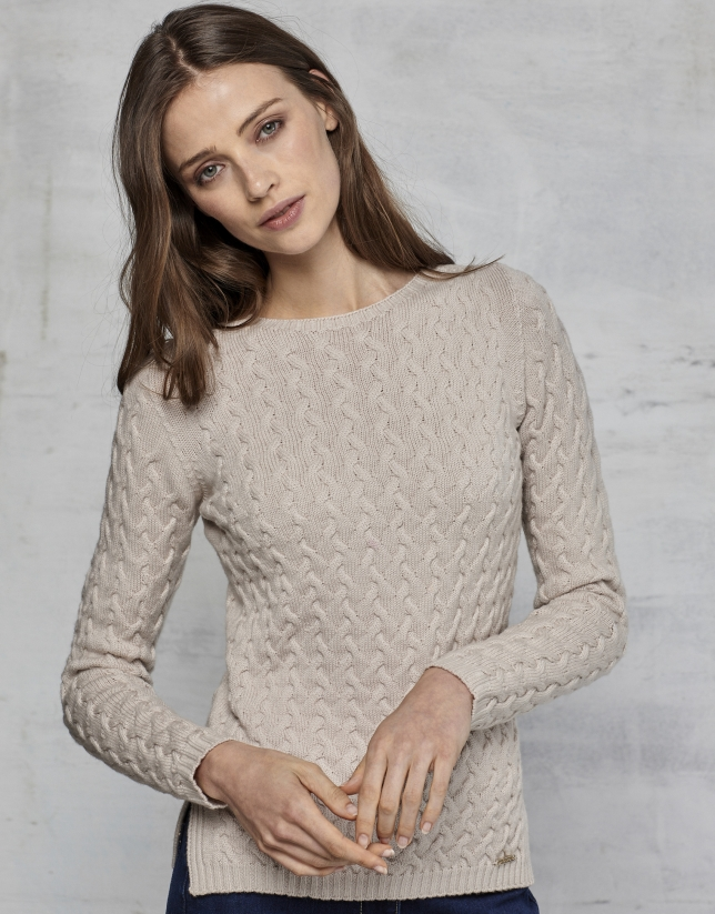 Jersey lana merino estructura color ivory