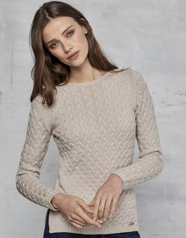 Pull en laine mérinos structuré couleur ivoire
