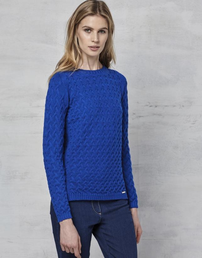 Sapphire blue merino wool sweater