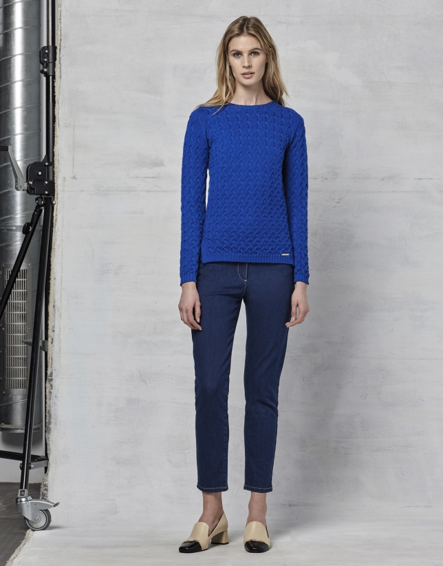 Jersey lana merino estructura azul zafiro