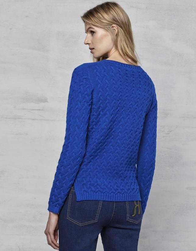 Pull en laine mérinos structuré bleu saphir