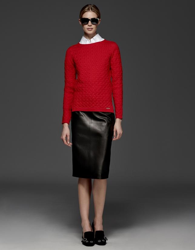 Pull en laine mérinos structuré couleur rouge