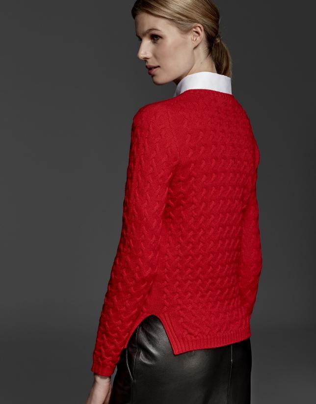 Jersey lana merino estructura color azalea
