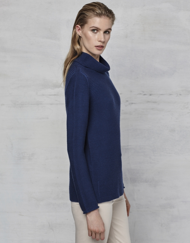 Navy blue turtle neck sweater