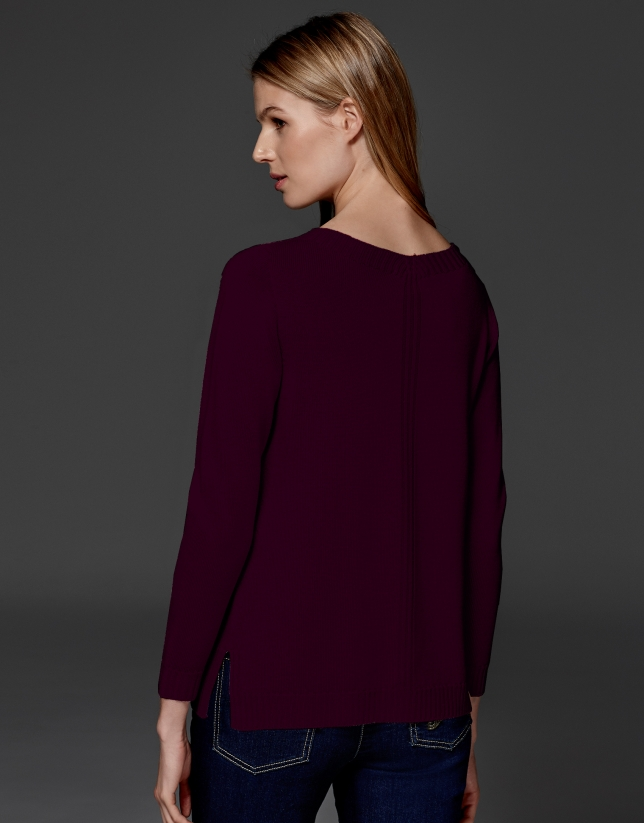 Maroon merino wool sweater with V neck