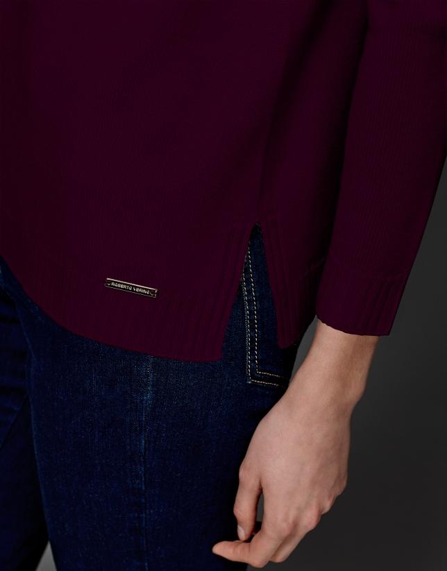 Jersey lana merino escote pico granate