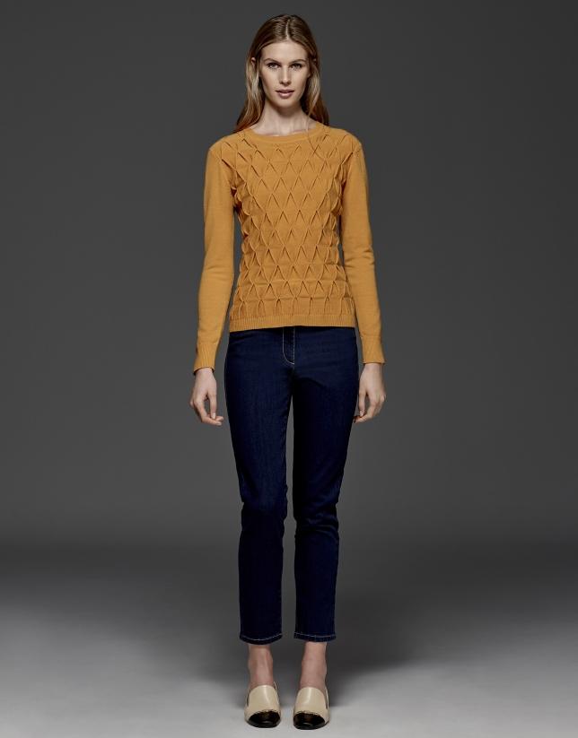 Pumpkin diamond print knit sweater
