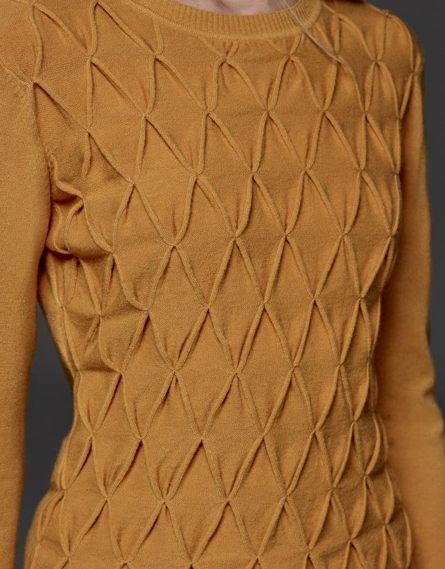 Jersey punto estructura rombos color calabaza