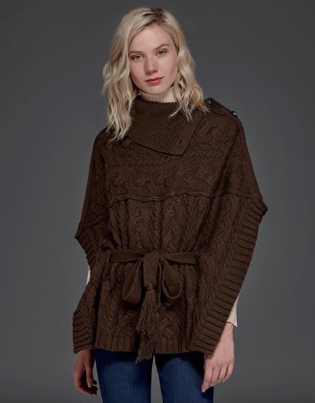 Brown, button down, knit poncho with stovepipe collar