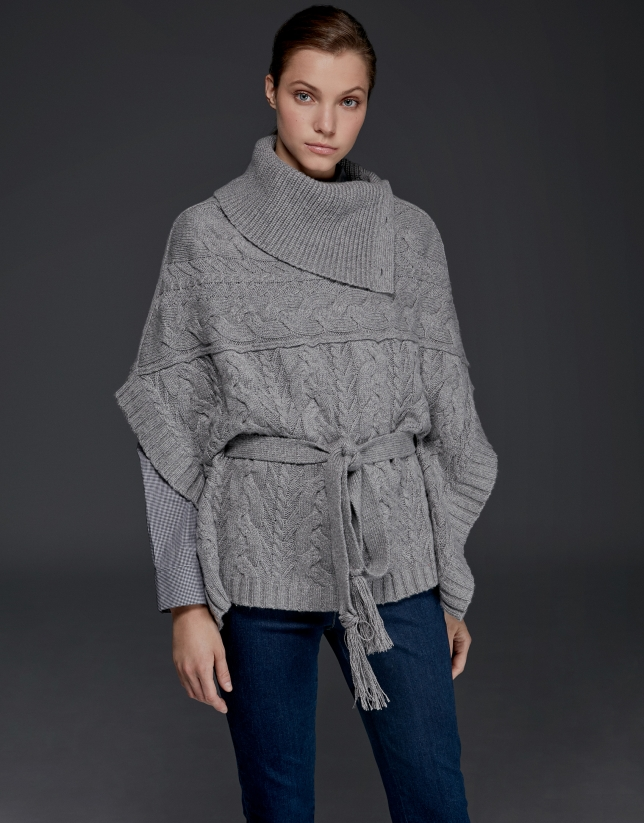 Silver gray, button down, knit poncho with stovepipe collar