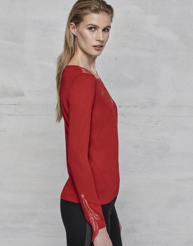 Deep red lace cocktail sweater