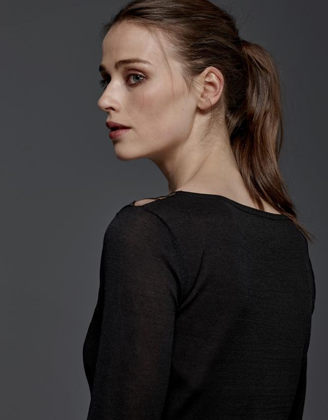 Jersey cóctel encaje negro