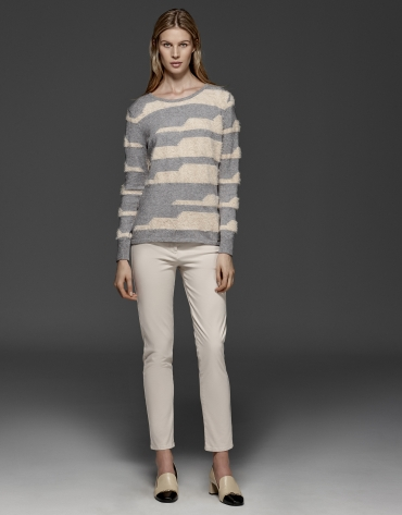 Beige/gray striped sweater