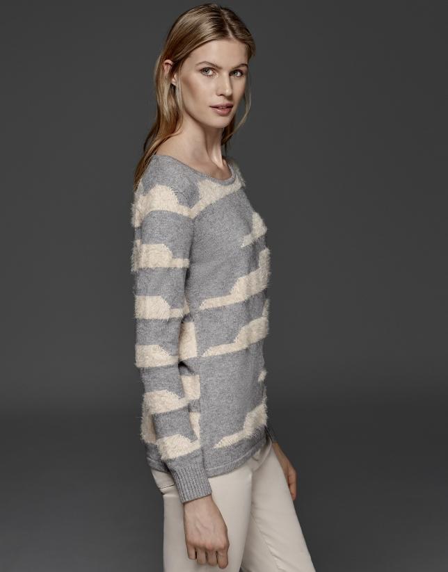 Beige/gray striped sweater
