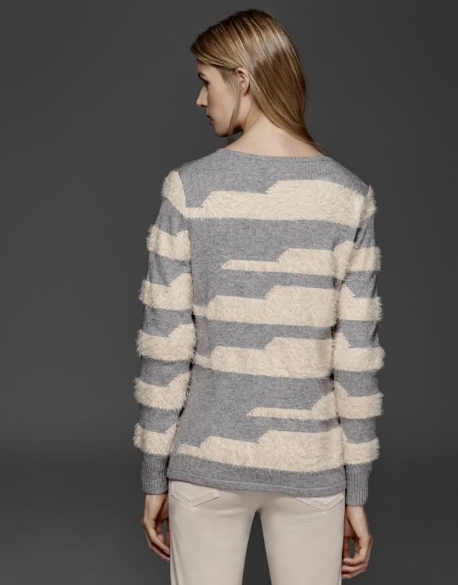 Pull à rayures gris et beige